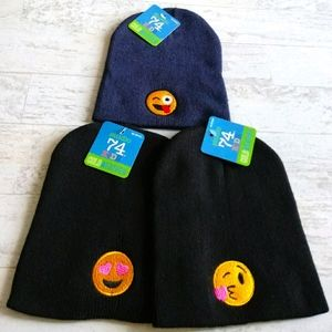 NWT SET OF 3 - KIDS EMOJI WINTER KNIT HATS